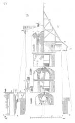Restes du château -  ... La coupe faite sur ab (fig. 44) montre en A la tour de Montépilloy telle qu'elle existait au XIIe siècle, et en B avec les modifications qui furent apportées aux défenses, en 1400, dans les parties  supérieures. On voit en C la coupe de la chemise, en P la coupe de la poterne, et en D celle de la chambre de la herse et du mâchicoulis au-dessus de cette poterne. On observera que le rez-de-chaussée est voûté, ainsi que l'étage au-dessus, au moyen d'arcs ogives à section rectangulaire reposant  sur cinq piles. Cette salle voûtée supérieure est divisée par un plancher, c'est le second étage. Le troisième étage, dans lequel on débouche  par la porte I, est resté tel qu'il était au XIIe siècle, seulement au XVe siècle on entailla sa muraille sur un point pour y loger un escalier à vis qui était destiné à monter au quatrième étage et à l'étage crénelé, avec mâchicoulis, M. La hauteur de l'ancienne tour ne dépassait pas le niveau N. Alors les hourds H donnaient une plongée en dehors de la chemise, comme l'indique la ligne ponctuée. Ce quatrième étage était destiné à l'approvisionnement des projectiles et à la défense supérieure qui se faisait par une série d'arcades dont on distingue quelques restes englobés dans la maçonnerie de 1400; arcades qui mettaient la salle supérieure en communication avec les hourds. Cette défense n'ayant pas paru avoir un commandement suffisant, en 1400 on suréleva cet étage à arcades; on le voûta en V, et l'on établit sur cette voûte une plate-forme avec crénelage et mâchicoulis M dont la plongée permettait  de battre le pied de l'escarpe de la chemise, ainsi que l'indique, de  ce côté, la ligne ponctuée ...