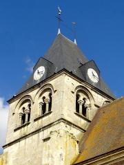 Eglise Notre-Dame de la Nativité - Français:   Clocher, côté sud-est; impacts de balles datant de la Fronde.