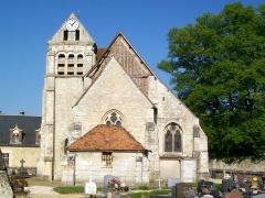 Eglise - Français:   L\'église Saint-Nicolas de Raray avec son clocher roman, vue depuis le cimetière à l\'est.