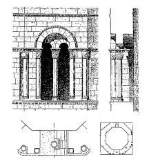 Eglise -  Face est de l'étage du clocher: élévation, coupe et plan.