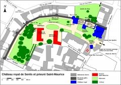 Ancien château royal, prieuré Saint-Maurice et mur gallo-romain - Français:   Château royal de Senlis et prieuré Saint-Maurice, plan de situation basé sur le cadastre.