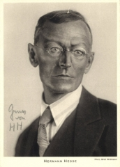 Ancienne poste aux chevaux - English: Signed 4 x 6 postcard with photograph of German author Hermann Hesse in a head and shoulders pose. Photograph by Gret Widmann. Signed by Hesse in bold pencil to a light area of the background, 'Gruss von H H'.