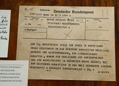 Ancienne poste aux chevaux - English: Telgegramm Konrad Adenauer to Hermann Hesse