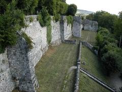 Ruines de l'ancien château et la butte sur laquelle elles sont situées - English: Fortifications of the castle of Château-Thierry. Taken at Château-Thierry, France, from one of the towers, with a Nikon Coolpix 775.