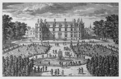 Château - Français:   Perelle Adam (dessinateur, graveur); Poilly Nicolas le Vieux de (éditeur).- Estampe, Vue et perspective du château royal de Villers-Cotterêts (Aisne), 2e moitié 17e siècle.