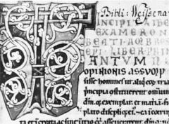 Bibliothèque municipale -  Amiens, Bibliothèques d'Amiens Métropole, manuscrit Lescalopier 30 B (ex Kloster Weißenau), fol.  1, Detail: Initiale T