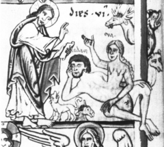 Bibliothèque municipale -  Amiens, Bibliothèques d'Amiens Métropole, manuscrit Lescalopier 30 B (ex Kloster Weißenau), fol.  10v, Detail:Sechster Schöpfungstag