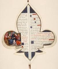 Bibliothèque municipale - Français:   folio 25 du Manuscrit en forme de Lys : Annonciation - Bibliothèques d\'Amiens Métropole (fonds Lescalopier, Ms.22)
