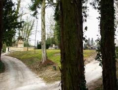 Cimetière de la Madeleine -   Amiens (Somme, France) -   Au cimetière de La Madeleine, une partie de l\'Allée des passiflores vue depuis le côté gauche de la tombe de Jules Verne.