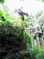 Cimetière de la Madeleine -  Amiens (Somme, France) -  Au cimetière de La Madeleine, la tombe de Zaïre LEROY, avec sa grande croix de fer forgé.   (Désolé pour la mauvaise qualité de la photo: problème de contre-jour important!)