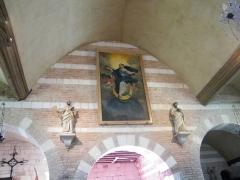 Eglise - Français:   Doudelainville, Somme, France, église. Les statues de saint Pierre et saint Paul, le tableau de l\'Assomption de la sainte Vierge.