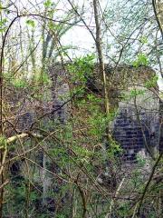 Château -   Lucheux (Somme, France)  Tour ronde du château en bordure du fossé.   Des arbustes envahissent partiellement le fossé du château (en avril 2007) et cachent complètement ce vestige de tour en été.