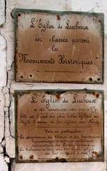 Eglise -  Lucheux (Somme, France) -  Le panneau informatif ancien, à l'intérieur de l'église.  .  .   .
