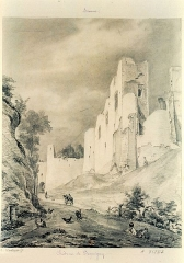Ruines du château -  - Château de Picquigny (Somme, Picardie) - 19e siècle.