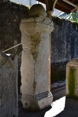 Evêché - Cippe surmonté d'une pomme de pin avec inscription d'époque romaine, découvert à Anglefort en 1879-1980, lors du creusement du canal de dérivation du Rhône, aujourd'hui conservé aujourd'hui dans le jardin Jean-Pierre Camus derrière l'évéché à Belley (Ain).   281 x 91 x 59 cm.  Inscription: Il s'agit d'une dédicace sous l'ascia aux Dieux Mânes de Saturilla (ou Maurilla), de son fils Maximius (ou Maxentius), de son mari (avec indication des âges), faite par Maticenus. Références: AE 1988, 0875 = Carte archéologique de la Gaule CAG 01 p. 139 = Epigraphische Datenbank Heidelberg HD009149 = Le Bugey 1987 p. 350-351 Raymond Chevallier Monument 1)