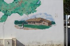 Ferme - Fresque montrant le plan de Saint-Didier-d'Aussiat et la ferme de Cossiat.