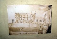 Château - Français:   Photographie d\'une photographie réalisée par Louis de Montravel   d\'un dessin à la plume  du château de Joyeuse en 1724(document personnel).