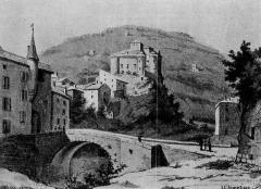 Château - Deutsch: Die Burg Largentière im 19. Jahrhundert