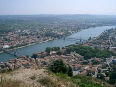 Passerelle Seguin sur le Rhône (également sur commune de Tain-l'Hermitage, dans la Drôme) -  Tournon-sur-Rhône - Ardèche  self made PRA