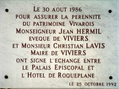 Hôtel de Roqueplane - Français:   Viviers - Hôtel de Roqueplane - Plaque commémorative