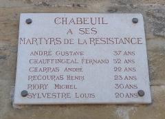 Porte de ville - Français:   Plaque en hommage aux martyrs de la Résistance de la commune de Chabeuil, dans le département de la Drôme.