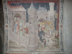 Eglise Saint-Barnard, ancienne collégiale -  Fresque (XVe siècle) de la collégiale Saint-Barnard (Romans-sur-Isère, Drôme): le pont médiéval de Romans
