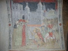 Eglise Saint-Barnard, ancienne collégiale -  Fresque (XVe siècle) de la collégiale Saint-Barnard (Romans-sur-Isère, Drôme): le palais des papes d'Avignon