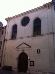 Ancienne abbaye de Saint-Ruf le Haut -  Façade de la chapelle Saint-Ruf qui sert de temple protestant a Valence