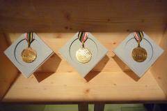 Monastère de Sainte-Marie-d'en-Haut - Les 3 médailles d'or de Jean-Claude Killy aux Jeux olympiques de 1968 à Grenoble. Exposées au musée dauphinois (02-2018 à 01-2019)