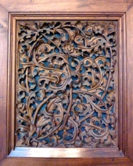 Palais de Justice - Panneau de bois sculpté. Ancien palais de justice, ancien palais du parlement du Dauphiné, Grenoble, France.