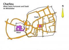 Abbaye de Charlieu - Deutsch: Charlieu im Mittelalter, Handskizze