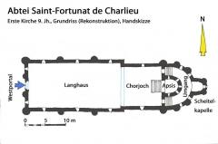 Abbaye de Charlieu - Deutsch: Charlieu, 1. Kirche, Grundriss, Handskizze