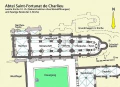 Abbaye de Charlieu - Deutsch: Charlieu, 2. Kirche, Grundriss, Handskizze