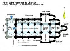 Abbaye de Charlieu - Deutsch: Charlieu, 3. Kirche, Grundriss, Handskizze