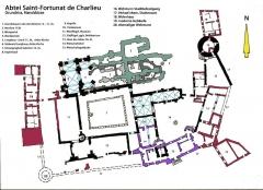Abbaye de Charlieu - Deutsch: Charlieu, Kloster, Grundriss, Handskizze