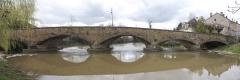 Pont de pierre sur le Sornin (vieux) - English:  Panoramic view of the old Bridge of Charlieu upon the Sornin.