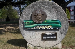 """Château des Bruneaux - English:  Monument in honor to André Chapelon, born in Saint-Paul-en-Cornillon, who created and perfected many models of steam locomotives, among which the Pacific 231, listed historic work. Arthur Honegger in its time honored it with the Symphonic Movement n° 1 for Orchestra named: """"Pacific 231""""."""