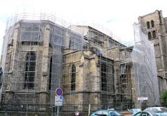 Eglise Notre-Dame - Français:   Montbrison - Collégiale Notre-Dame d\'Espérance - Le choeur et les travées 4 et 5 en cours de restauration en juillet 2009