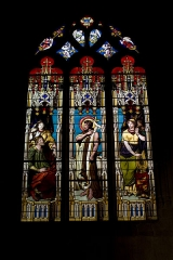 Eglise Notre-Dame - English:  Stained glass of the chapel of Sainte Cecile, Saint John the Baptist, left, King Herod Antipas and Hériodiade, the wife of his brother whom he had married, right, Salome daughter of Herodiade who, after having seduced his father, obtained the head St. John the Baptist.