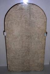 Musée Joseph Dechelette -  stèle cintrée d'Horiouah, calcaire, Abydos, XIII° dynastie