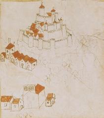 Château de Couzan (restes) - Deutsch: Darstellung der Burg Couzan samt Burgkapelle aus dem 16.Jh.