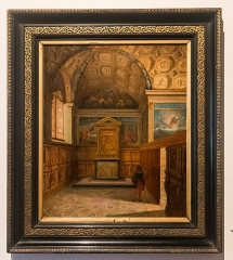 Château de la Bastie-d'Urfé - English:  Painting of the chapel before the furniture was dispersed.
