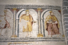 Eglise - English:  The frescoes of the choir damaged during the Wars of Religions are being restored.