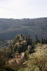 Eglise de Cornillon - English:  The castle, seen from where the rocky headland comes off the mountain.