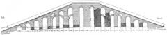 Aqueduc gallo-romain de l'Yzeron - Français:   Reconstitution du réservoir de l\'aqueduc de Craponne (dont subsistent aujourd\'hui les tourillons de Craponne) par. M. Gabut.