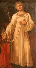 Eglise Saint-Just - Français:   Saint Just évêque de Lyon au IVe siècle se dépouillant des insignes de l\'épiscopat; peinture dans l\'église Saint-Just de Lyon (XIXe siècle)