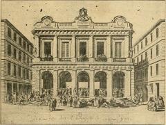 Ancienne Loge du Change, ancien Temple protestant -  Estampe d'une maison de change à Lyon  dans l'Histoire socialiste de la France contemporaine (tome I).
