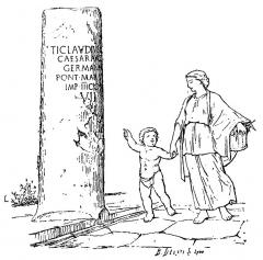 Borne milliaire - Français:   Légende du livre:  Milliaire du compendium de Vienne à Lugdunum, construit par l\'empereur Claude. (Les personnages sont destinés à faire apprécier les proportions du monument.) Ce monument, qui existe encore au village de Solaize, porte cette inscription: TICLAVDIVSDRVSIF CAESARVGVST GERMANICVS PONT·MAX·TR·POT·III IMP·IIICOSIIIPP VII  Figure 278, page 228 du livre d\'André Steyert, Nouvelle histoire de Lyon et des provinces, de lyonnais, Forez, Beaujolais, Franc-lyonnais et Dombes, tome premier, Antiquité depuis les temps préhistoriques jusqu\'à la chute du royaume burgonde (534), illustré par l\'auteur de 800 dessins, cartes, plans, etc. Lyon, Bernoux et Cumin, 1895.