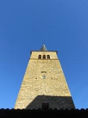 Eglise - Français:   Clocher de l\'église Saint-Martin de Ville-sur-Jarnioux (Rhône, France).
