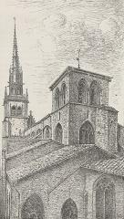 Eglise Notre-Dame-des-Marais - Français:   Gravure de Jean-Baptiste Morel montrant le clocher de Notre-Dame des Marais; illustre le Bulletin de la Société des sciences et arts du Beaujolais - Dixième année (1909)